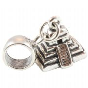 Mayan Pyramid 3D Sterling Silver Dangle Charm / Carrier Bead